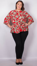 Jasmine Red Floral Front Knot Top
