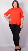 Jane Orange Button Back Peplum Blouse