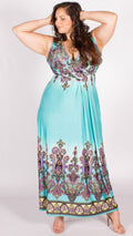 Paisley Print Maxi Dress Light Blue