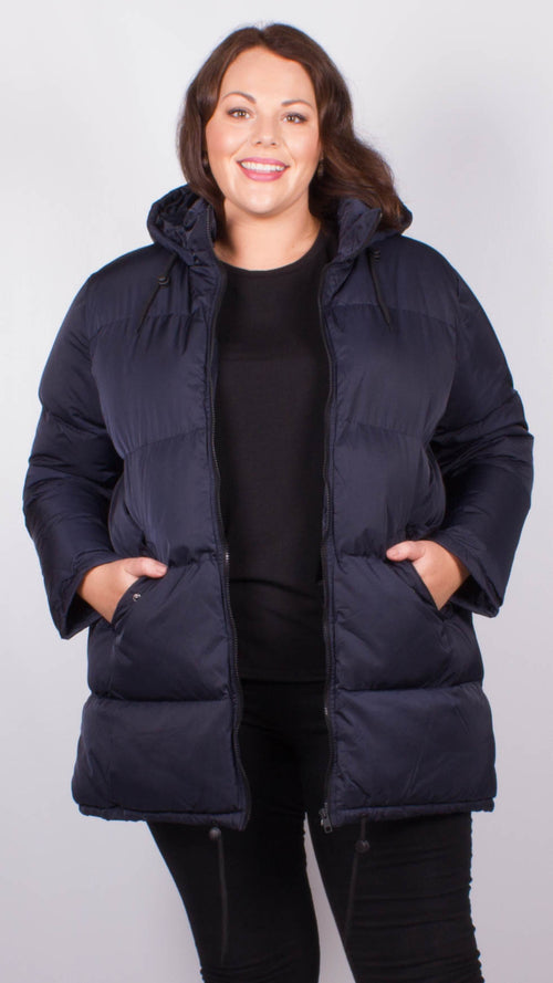 Angelina Navy Padded Long Length Padded Coat