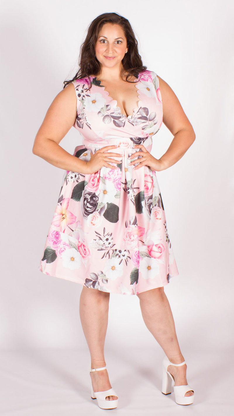 Curve Cairo Pink Floral Scallop Skater Dress