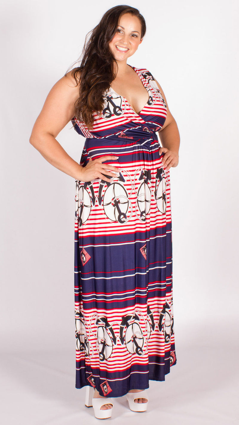 Leah Anchor Print Maxi Dress