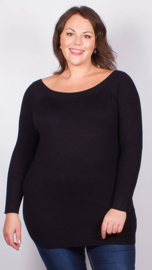Leah Black Long Sleeve Fine Knit Jumper