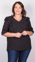 Evelyn Black Polka Dot Ruffle Blouse