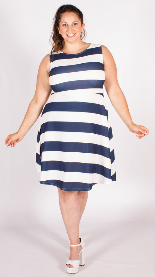 Oxford Navy/White Hoop Skater Dress