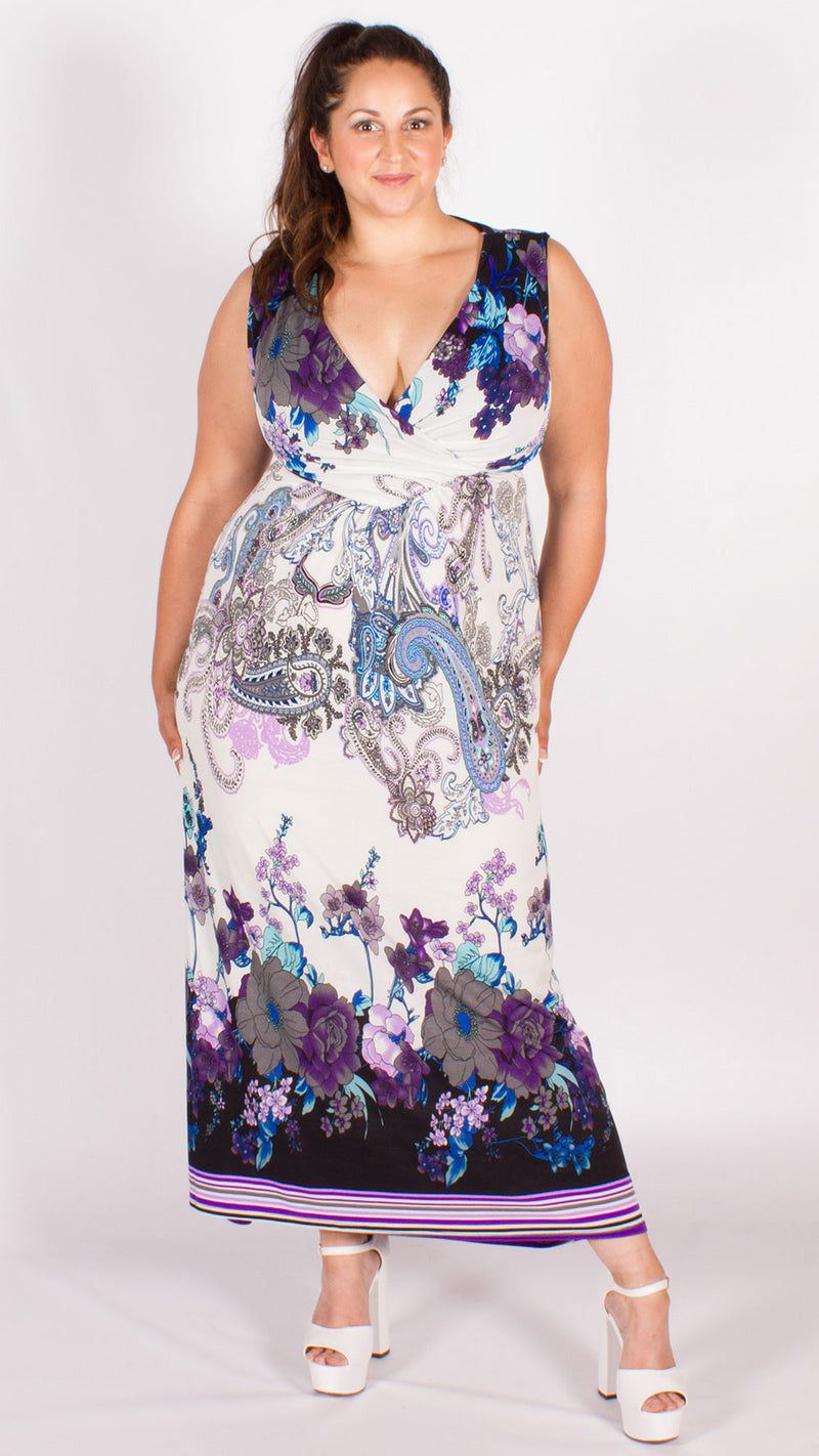 Paisley Print Maxi Dress Purple