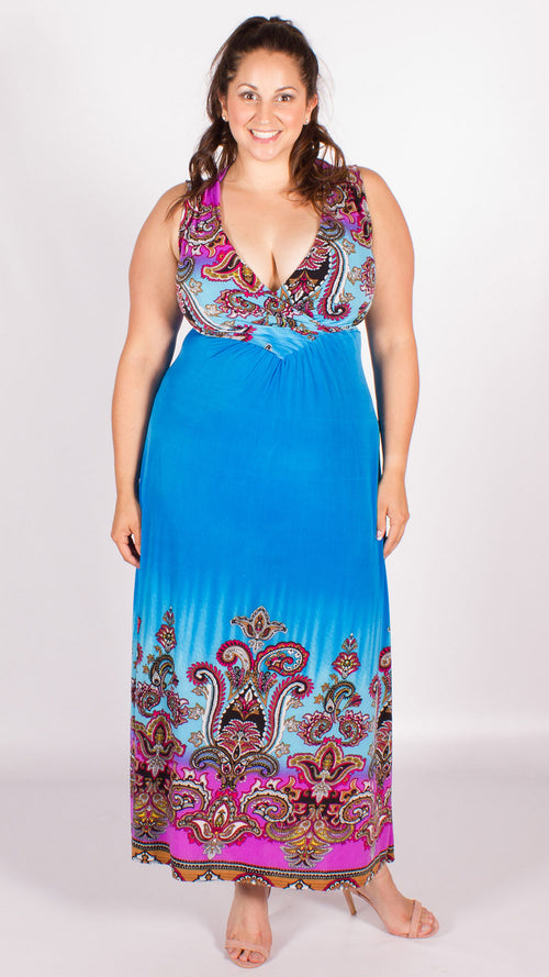 Paisley Print Maxi Dress Blue