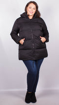 Angelina Black Padded Long Length Padded Coat