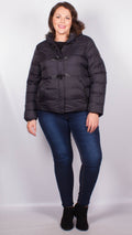 Fiona Black Duffle Style Hooded Puffer Jacket