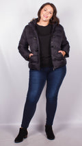 Fiona Black Duffel Style Hooded Puffer Jacket