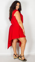 Eloise One Shoulder Red Midi Dress with Asymmetric Hem