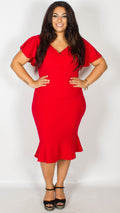 Elaine Frill Sleeve Red Midi Dress