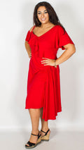 Fran Red Midi Dress with Frill Detail