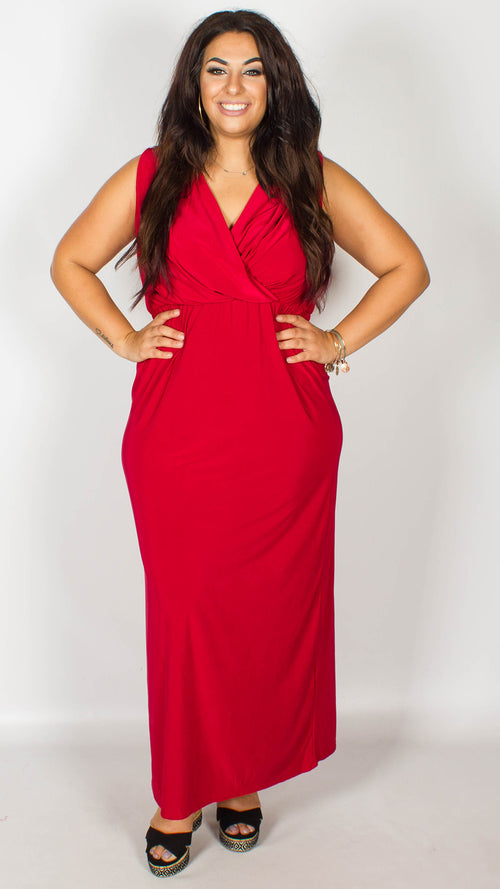 CurveWow Red Maxi Dress