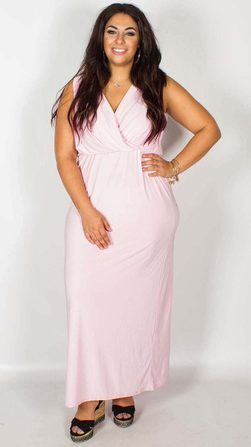CurveWow Baby Pink Maxi Dress