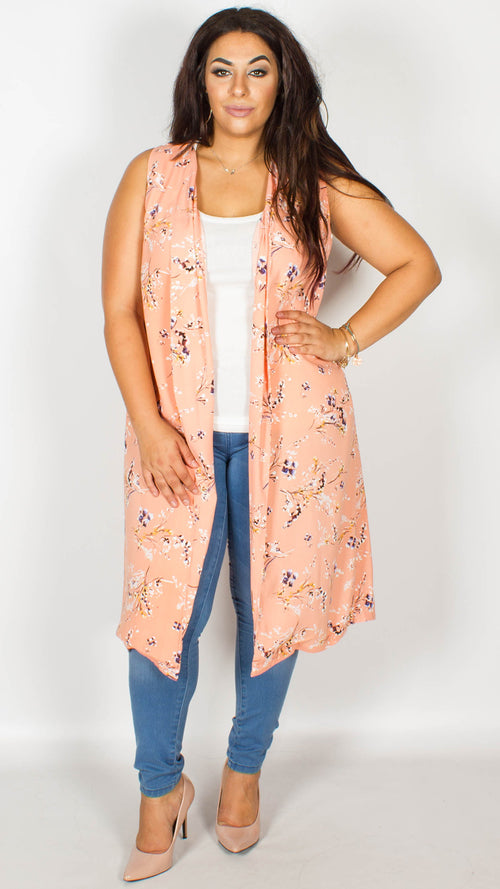Erica Blossom Print Split Back Duster Jacket