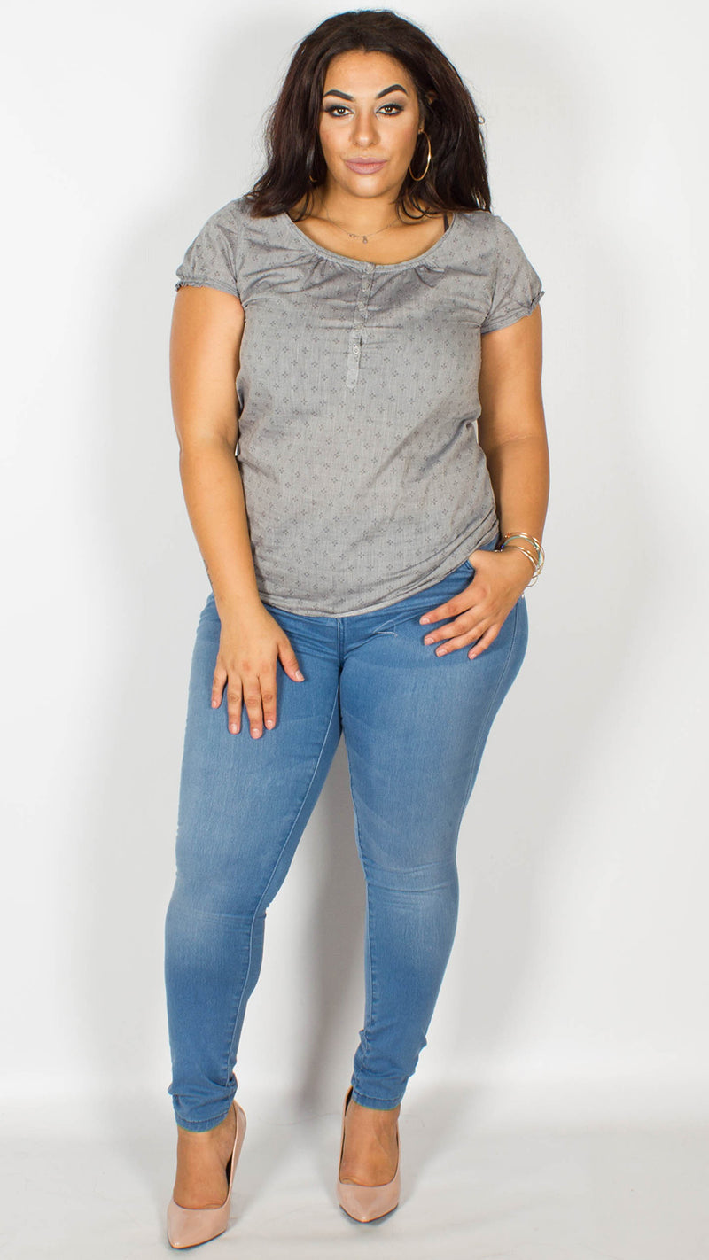 Fiona Grey Button Down Top