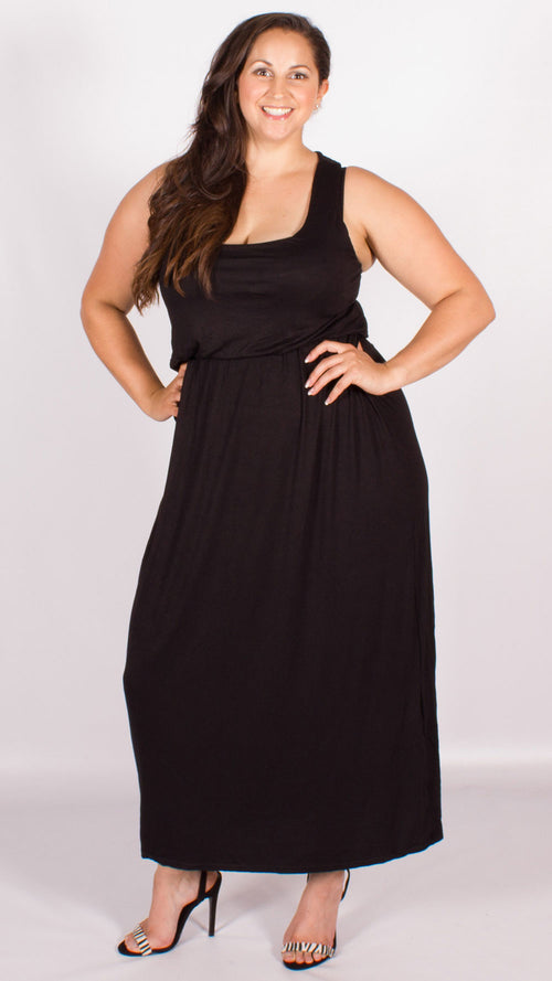Curve Balloon Maxi Racer Back Dress Black