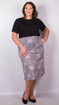 CurveWow Lilac Animal Print Midi Skirt