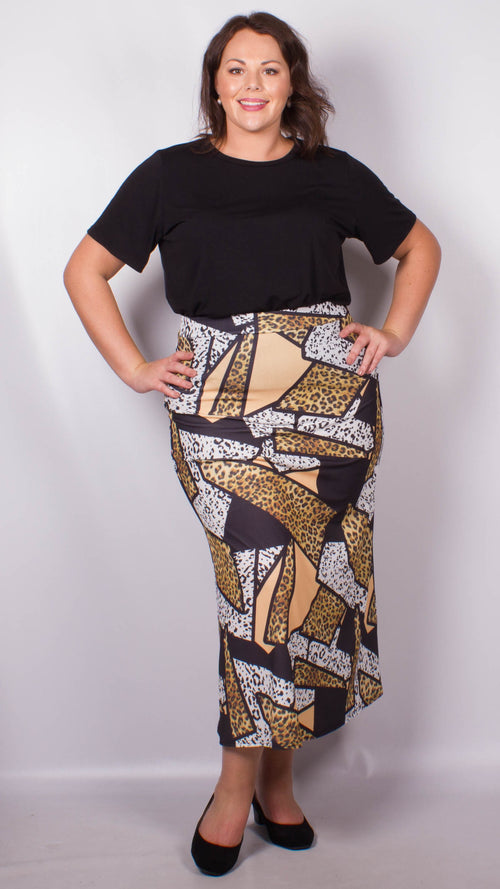 CurveWow Animal Print Maxi Skirt
