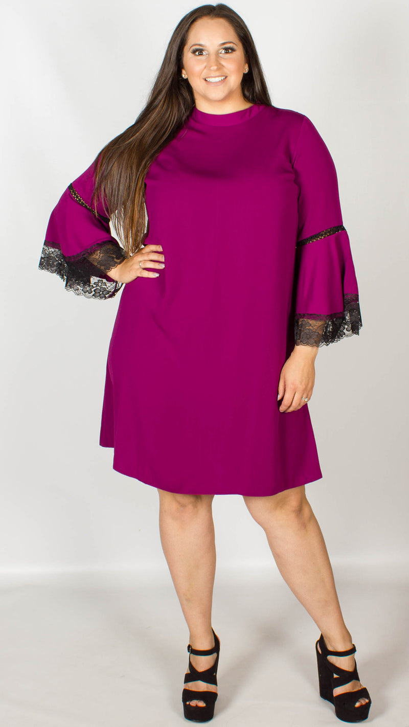 Tegan Purple Swing Dress With Lace Inserts
