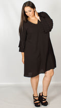 Tomlin Black Double Pleated Sleeve Shift Dress