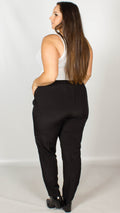 Theia Pleat Front Black Trousers