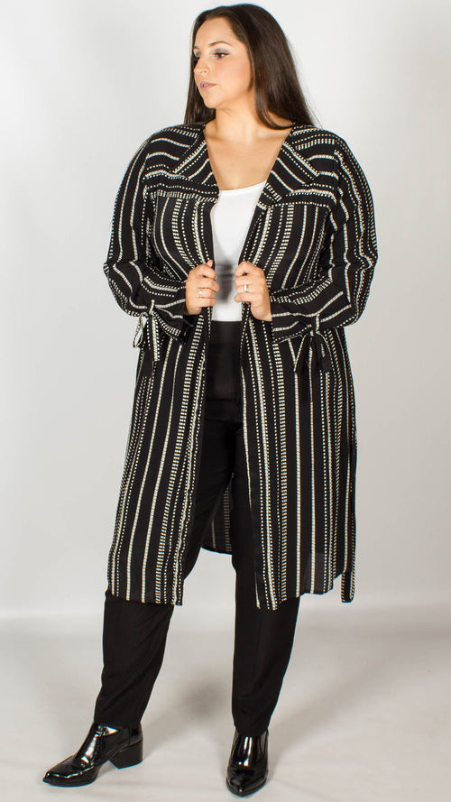 Theia Black and White Stripe Duster Jacket