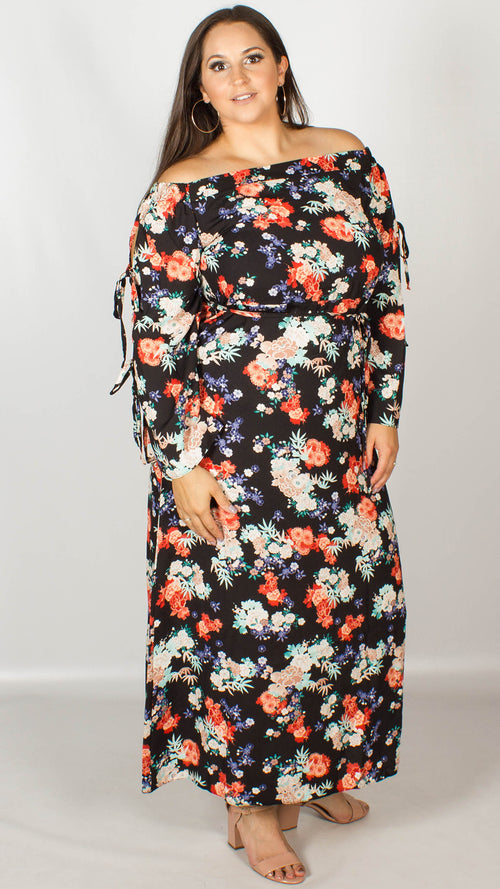 92f7eb42fe39c Doris Black Multi Floral Bardot Maxi Dress