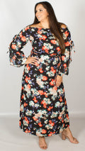 Doris Black Multi Floral Bardot Maxi Dress