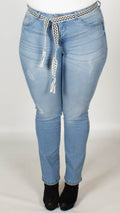 Linnea Slim Fit High Waisted Light Denim Jeans with Belt