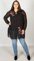 Tricia Black Embroidered Sheer Longline Shirt