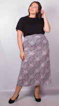 CurveWow Lilac Animal Print Maxi Skirt