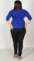 Talaya Blue Jersey Wrap Top