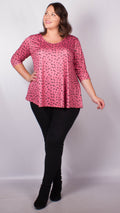 CurveWow Pink Leopard Print Swing Top