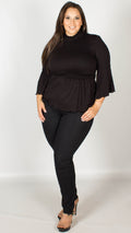 Tilly Black Shirring Detail Turtle Neck Top