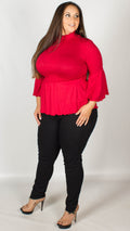 Tilly Red Shirring Detail Turtle Neck Top
