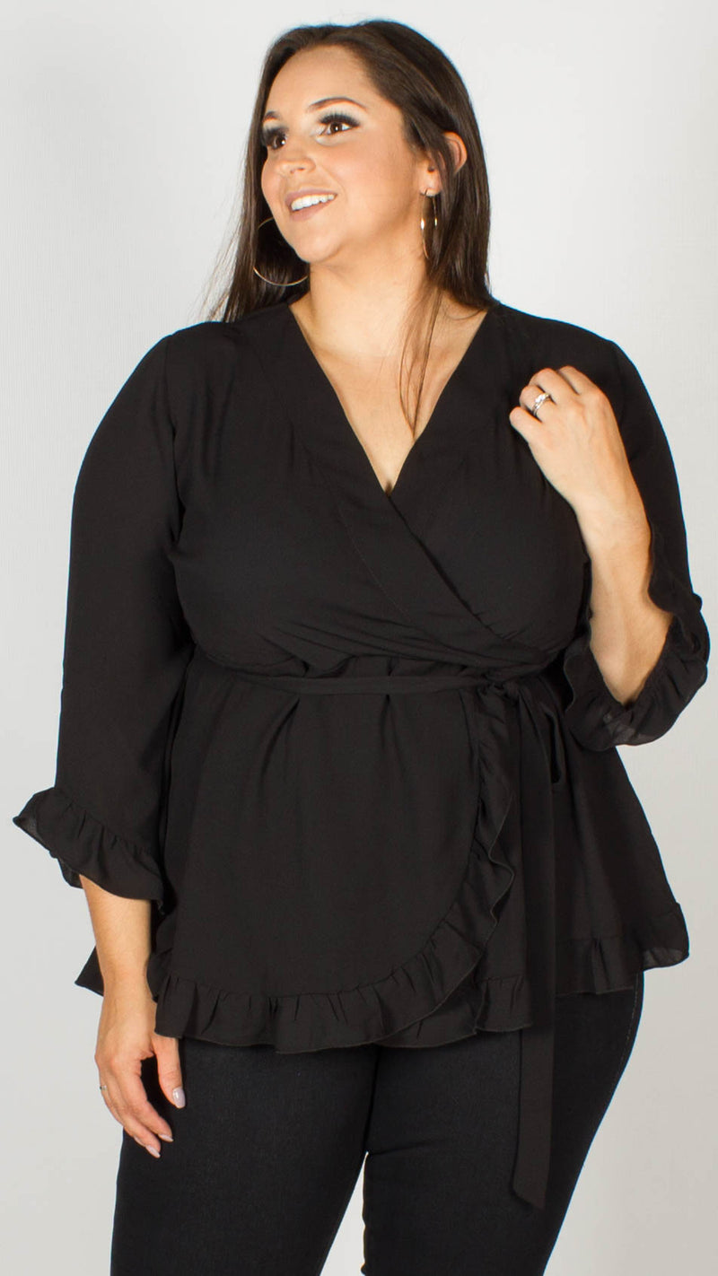 Tari Black Frill Wrap Top