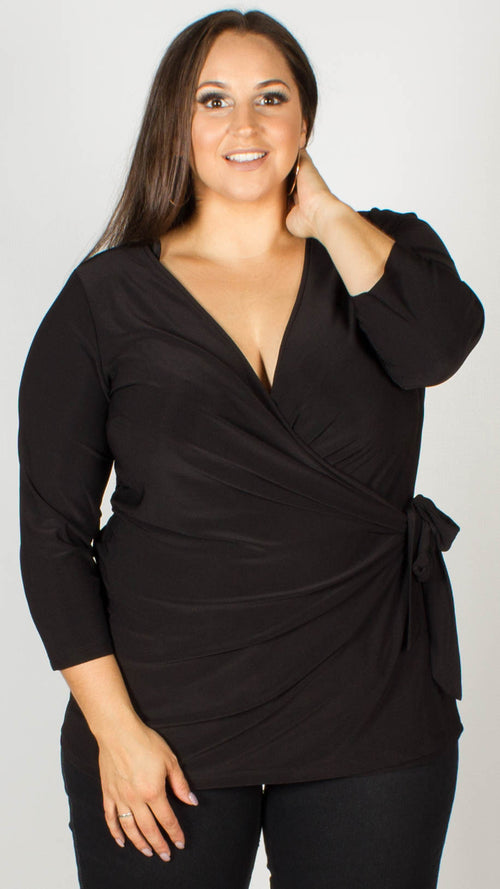 Nadia Premium Jersey Black Wrap Top