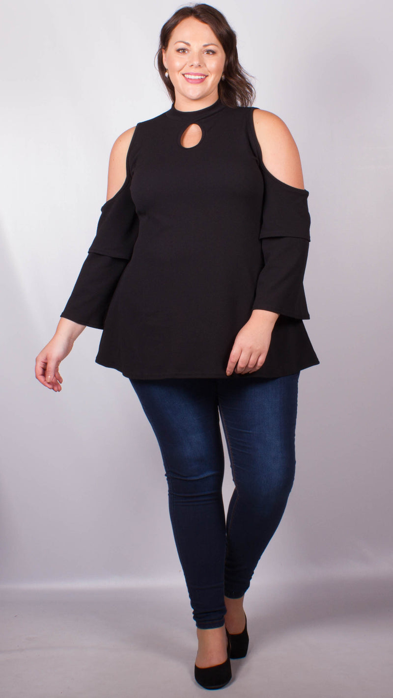 CurveWow Off the Shoulder Keyhole Black Tunic