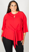 Blair Red Knot Front Blouse with Keyhole Detail