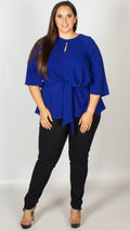 Blair Blue Knot Front Blouse with Keyhole Detail