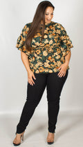 Trinity Floral Top With Ruffle Sleeves