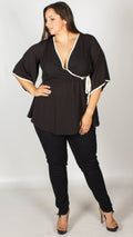Tracie Black Kimono Wrap Top With White Binding