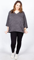 CurveWow Grey and Black Spot Cape Top