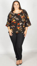 Triana Black Floral Cold Shoulder Top