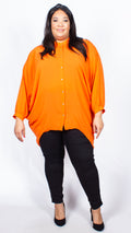 Deena Long Sleeve Orange Batwing Tunic Shirt