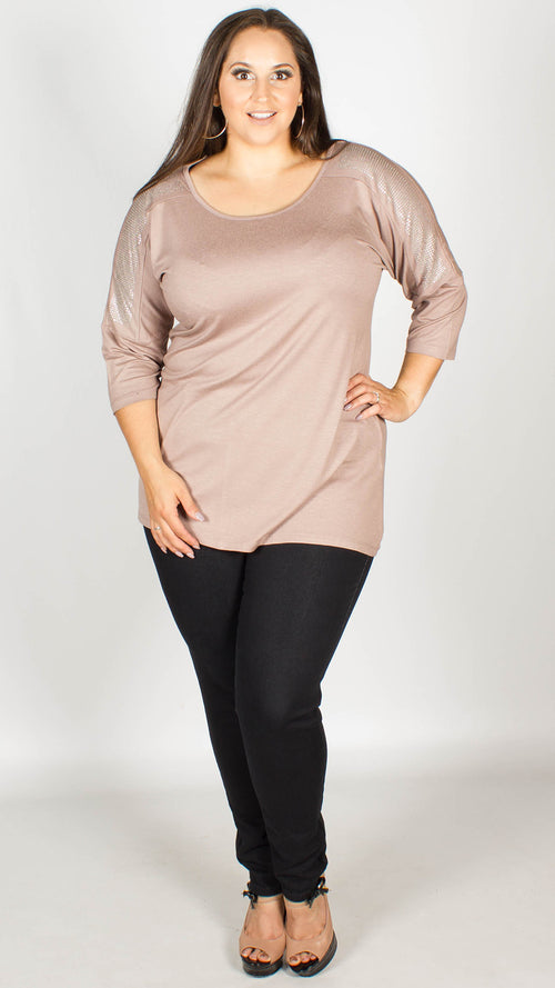 Katy Mocha Embellished Shoulder Jersey Tunic