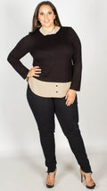Natalie 2 in 1 Black Stone Long Sleeve Jersey Shirt Top