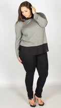 Natalie 2 in 1 Grey Black Long Sleeve Jersey Shirt Top